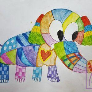 rysujemy-slonia-w-kratke-na-zajeciach-online-z-rysunku