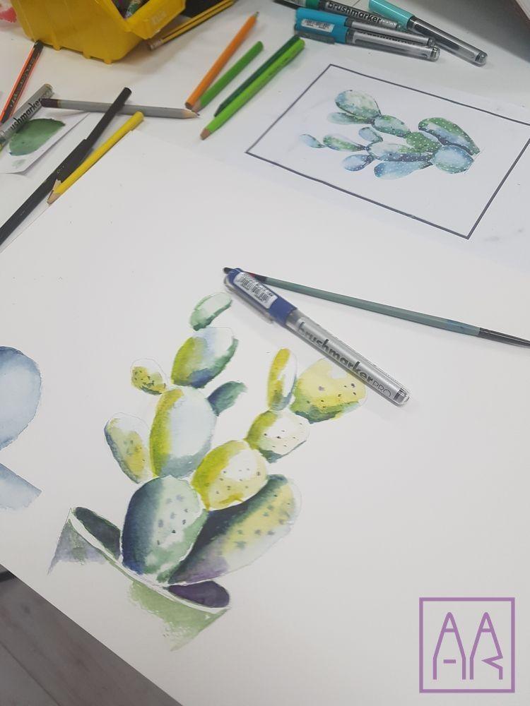 kaktusy-malowane akwarela-w-poznaniu-akademia-rysunku-dla-dzieci