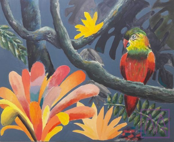 papuga-na-galezi-akryl-na-plotnie-w-klasa-7-10-lat w akademia-rysunku