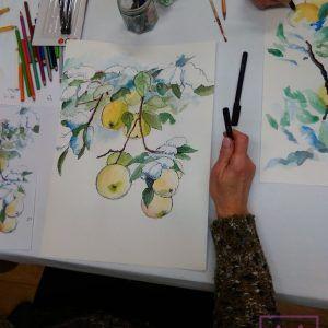 akwarela-jablka-w-sadzie-recznie-malowana-na papierze-akwarelowym