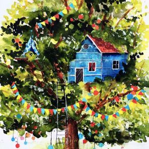 akwarela-wiosenne-drzewo-kingi-kucharzyk-na-zajecia-w-akademia-rysunku-w-poznaniu
