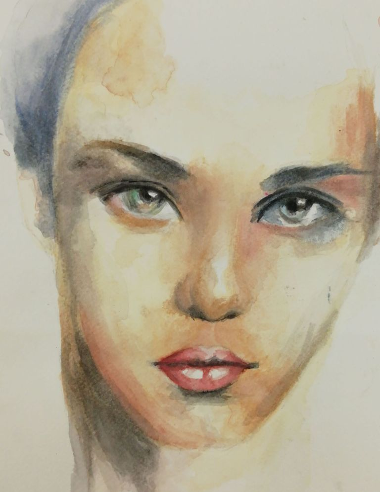 malowanie-akwarela-portret-dziewczyny-na-zajeciach-z-malarstwa