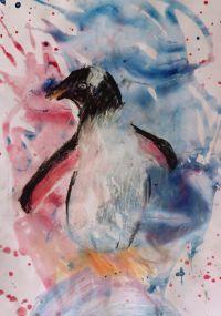 rozlewanie-akwareli-pingwin-narysowany-w-akademii-rysunku-dzieci-7-lat-wegiel-i-biala-kreda