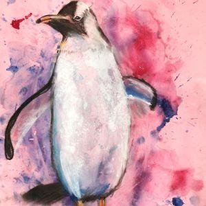 rozchlapywanie-akwareli-pingwin-narysowany-w-akademii-rysunku-dzieci-7-lat