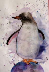 mokre-w-mokre-akwarela-pingwin-rysunek-dla-dzieci-w-poznaniu