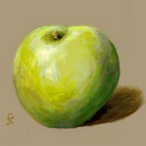 jablko-zbigniew-sawaryn-akryl-cwiczenie-akademia-rysunku