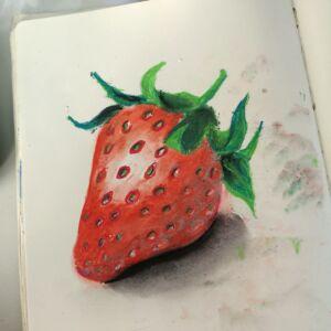 truskawka-hiperrealistyczna-suchy-pastel-akademia-rysunku