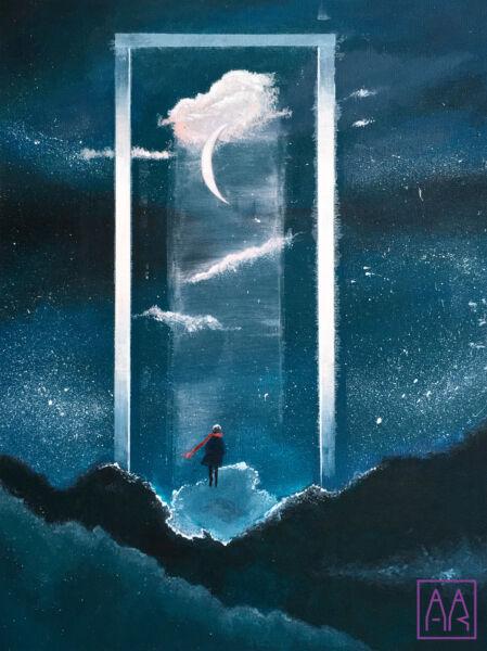 nocne-niebo-obraz-akryl-w-akademia-rysunku-na-zajeciach-z-rysunku